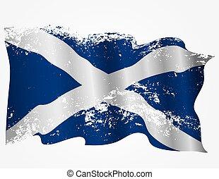 escocia, o, escocés, grunge, bandera