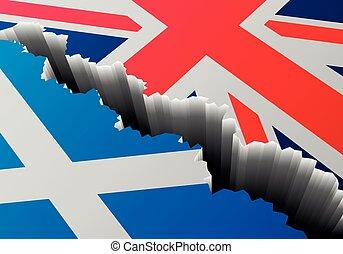 Escocia, profundo, Reino Unido, grieta