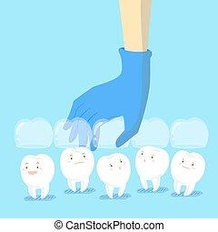 escoger, dientes, doctor, mano