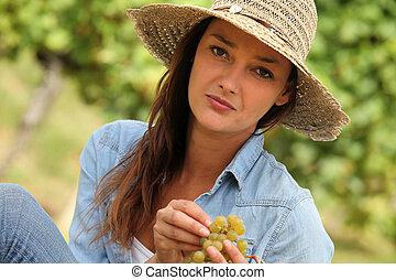 escoger, mujer, uvas