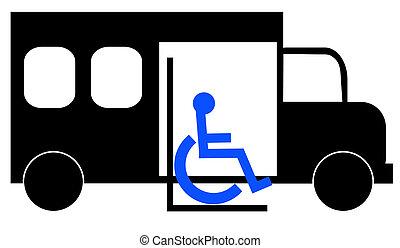 escoger, pasajero, arriba, sílla de ruedas, ilustración, autobús, paratransit
