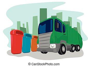 escoger, reciclaje, camión, arriba, cajones