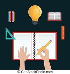 escola, ícones, escrita, desenho, educação, aprendizagem
