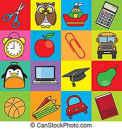 escola, ícones