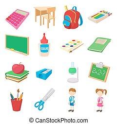 escola, ícones, jogo, estilo, costas, caricatura