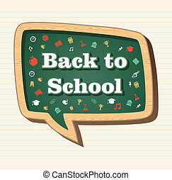 escola, ícones, mídia, costas, social, educação, bolha