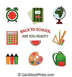 escola, ícones, padrão, costas, vetorial, fundo, template.