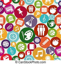 escola, ícones, pattern., costas, seamless, educação