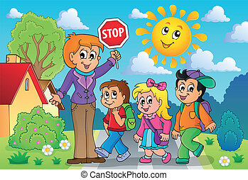 escola, 2, tema, imagem, crianças