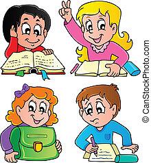 escola, 2, tema, imagem, pupilas