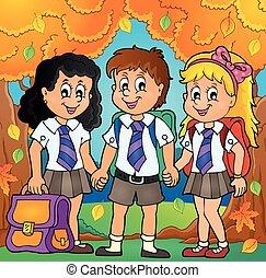 escola, 6, tema, imagem, pupilas