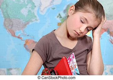 escola, aborrecido, adormecido, menina, queda