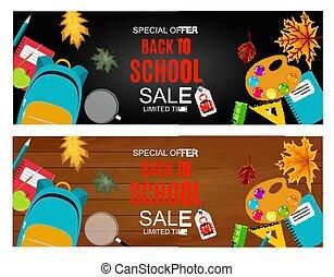 escola, abstratos, venda, ilustração, costas, outono, vetorial, fundo, queda sai