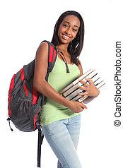 escola, adolescente, americano, livros, estudante, africano