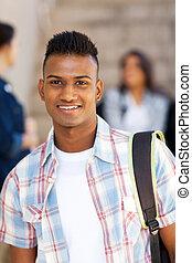 escola, alto, indianas, estudante, sorrindo, macho