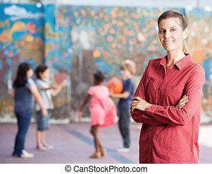 escola, ao ar livre, dela, professor, crianças, femininas,...
