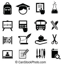 escola, aprendizagem, e, educação, ícones