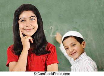 escola, atividades, bordo, menina, e, menino, em, sala aula