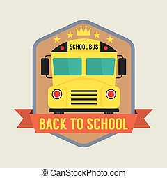 escola, badge., costas