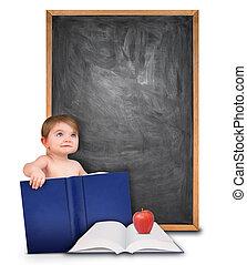 escola, bebê, livro, e, chalkboard