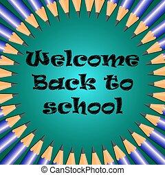 escola, bem-vindo, costas