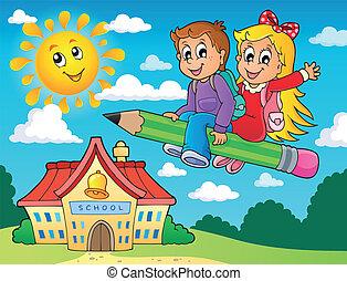 escola brinca, 5, tema, imagem