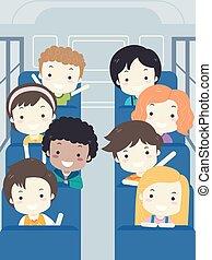 escola brinca, autocarro, ilustração, estudante, interior