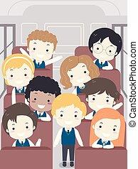 escola brinca, autocarro, ilustração, uniforme, estudante