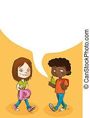 escola brinca, bubble., costas, social, educação