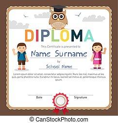 escola brinca, certificado, diploma, elementar, pré-escolar