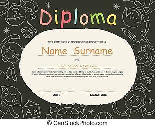 escola brinca, certificado, diploma, fundo, elementar, pré-escolar