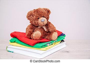 escola brinca, copyspace, pelúcia, livros, coisas, concept., roupas, doação, toys., bear., text., materiais, doar
