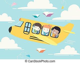 escola brinca, estudante, ilustração, avião