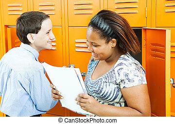 escola brinca, falando, por, lockers