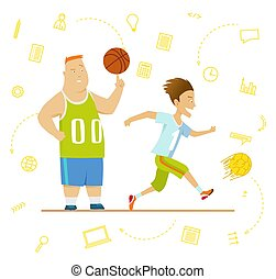 escola brinca, futebol, incluindo, children., desporto, basketball.