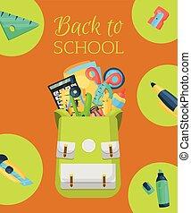 escola brinca, illustration., cartaz, banner., mochila, calculadora, ruler., costas, accessories., equipamento, vetorial, cola, materiais, escritório, educação, coloridos, estacionário