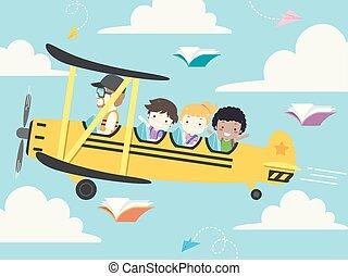 escola brinca, ilustração, avião, estudante, aviador