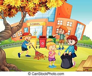 escola brinca, limpeza, oferecer-se, cima