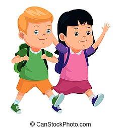 escola brinca, mochilas, sorrindo