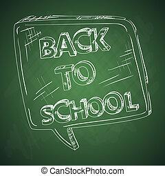 escola, bubble., costas, chalkboard, social, educação