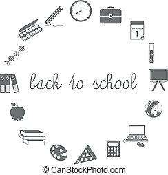escola, círculo, costas, ícones
