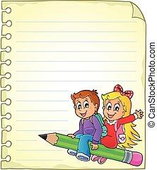 escola, caderno, página, crianças