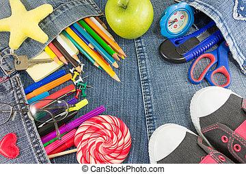 escola, calças brim, criativo, objetos, aprendizagem, ano, novo