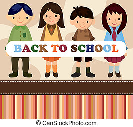 escola, caricatura, estudante, card/back