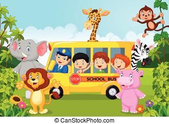 escola, caricatura, safari, crianças