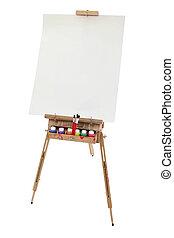 escola, cavalete, arte