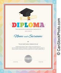escola, certificado, modernos, diploma, boné graduação, estilo, modelo, selo, documento, criança