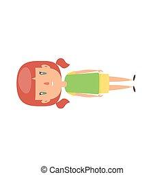 escola, character., jardim infância, alegre, sorrindo, pequeno, caricatura, pupila, child., estudante elementar