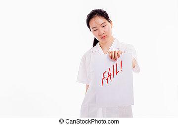 escola, chinês, mostrando, alto, mau, contagem, teste, menina