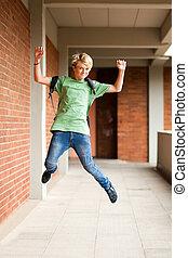 escola, cima alto, pular, estudante, macho, feliz